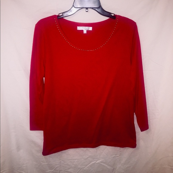 Ellen Tracy Tops - Red & Gold Long Sleeve Blouse.
